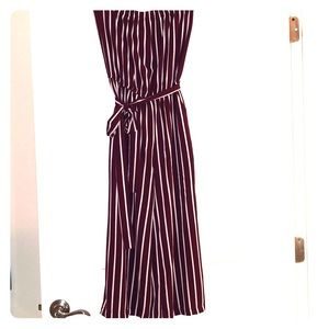 Strapless cropped length jumpsuit